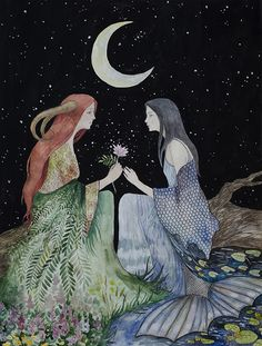 The Faerie and The Mermaid. Goddess Art, Moon Goddess, Art And Illustration, Painting Inspiration, Art Inspo, Motifs Art Nouveau, Images Esthétiques, Arte Obscura, Sacred Feminine