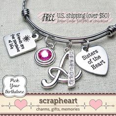 Sisters of the HEART Bracelet, Friends Are The Sunshine of Life Bangle - by ScrapheartGifts