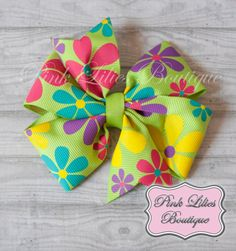 Bright Flowers Hair Bow  Bright Colors by PinkLiliesBoutique