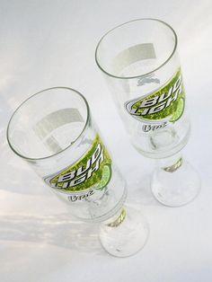 Beer Bottle Wine Glasses Bud Light Lime Goblets Candle Holders Set of 2 by BoMoLuTra, $14.99 USD