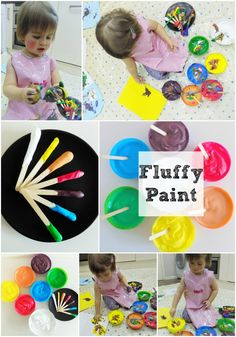 Fluffy Paint for toddlers. Fab toddler craft, messy play and sensory idea! Shaving foam, PVA glue and food colouring!