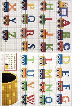 ::Ponto de Cruz | Desenhos |Gráficos:: Cross Stitch Letters, Cross Stitch Baby, Cross Stitching, Cross Stitch Embroidery, Hama Beads Patterns, Alphabet And Numbers, Crochet, Cross Stitch Train, Small Cross Stitch