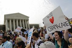 Supporters of President Obama's health care law go on street to celebrate.