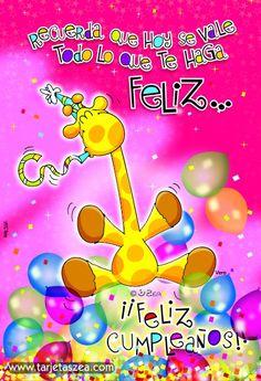 Imagen de cumpleaños-para ser feliz en tu día-Vera © ZEA www.tarjetaszea.com Happy Birthday Ecard, Happy Brithday, Happy Birthday Messages, Birthday Images, Birthday Cards, Happy B Day Images, Happy Birthday In Spanish, Happy Everything, Inspirational Phrases