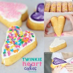 How to make heart shaped cakes using Twinkies! These Twinkie Heart Cakes are loved by children and adults alike! Heart Shaped Cakes, Heart Cakes, Chocolate Covered Pretzels, Chocolate Covered Strawberries, Diy Valentine's Snacks, Valentines Day Treats, Diy Cake, Make It Simple, Sweet Treats