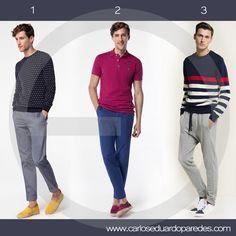 Dale color a tus outfits de fin de semana con estas alternativas. ¿Cuál es tu favorita? ¿1, 2 ó 3? #ModaMasculina