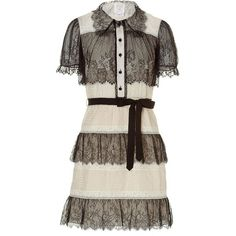 ANNA SUI Black/Cream Lace Trim Belted Dress (4 450 SEK) ❤ liked on Polyvore featuring dresses, vestidos, short dresses, платья, short sleeve cocktail dress, short lace cocktail dress, short sleeve dress and short sleeve mini dress