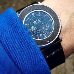 """Casio Twin Sensor"" #Watchface with @getGadgetWraps black brushed metal skin and black @primria_design #watchband on #PebbleTimeRound #pebble #smartwatch #pebbletime #watchfaces Pebble Smartwatch Watchfaces"