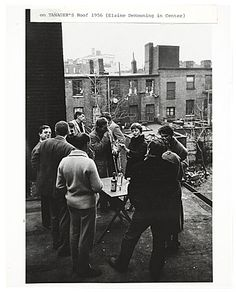 """""""Gathering on the roof of the Tanager Gallery, 1956 / unidentified photographer. Joellen Bard's, Ruth Fortel's, and Helen Thomas' exhibition records of """"Tenth Street Days: the Co-ops of the 50s"""", Archives of American Art, Smithsonian Institution."""""""