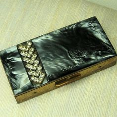 Rhinestone Art Deco Cigarette Case by rustycharm on Etsy