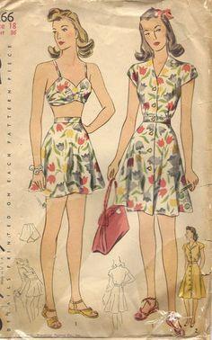 "1940s Vintage Sewing Pattern BATHING SUIT & DRESS (Bust:36"") (R187)"