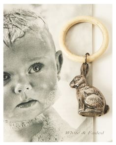 Vintage silver rabbit rattle