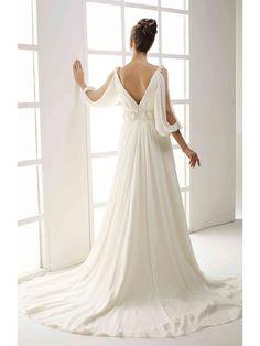 White A-line/Princess Halv Ärm Chiffong Kapell Tåg V-Ringad Wedding Dresses för 5120kr