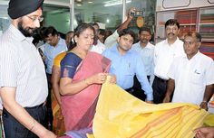 S. Gokula Indira, Minister for Handlooms and Textiles, at a cooperative society in Ariyalur district on Tuesday.