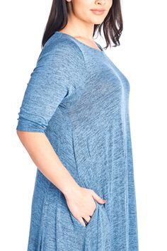 0632c350d42 12 Ami Plus Size Solid 3 4 Sleeve Pocket Loose Maxi Dress Denim 2 Tone XL      Check this awesome product by going to the link at the image.