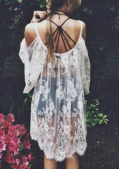 Gypsy Boho Lace Dress - Gorgeous White Sheer Lace