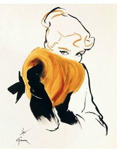 Stunning work. René Gruau for Christian Dior.