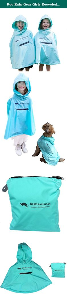 Roo Rain Gear Girls Recycled Plastic Bottle Packable Rain Poncho XXS (Fits Ages 18-24 Months) Blue Skies Forever. Look good while doing good! This stylish kids rain poncho is made from 100% recycled plastic bottles. Delight your child with the hidden pouch pocket the entire poncho packs into. Comes with a recycled aluminum carabiner for quick clip-n-go with your child's packed down rain poncho. The hottest new rainwear on the playground!.