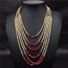 Mujeres maxi collares 2015 de boda nigeriano beads africanos cristal en capas…