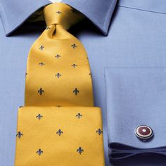 Classic gold and navy Fleur de Lys tie | Classic ties from Charles Tyrwhitt, Jermyn Street, London