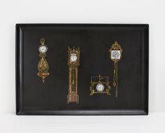 Vintage Couroc Tray Antique Clocks Wood Inlay Steampunk Retro Drink Bar