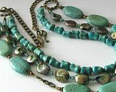Triple strand necklace turquoise howlite and bronze coin pearl beaded necklace, beaded jewelry