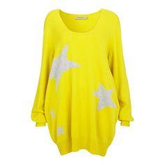 Yellow/Grey Star Cashmere Jumper Dress