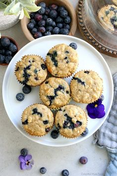 The fluffiest gluten free blueberry muffins recipe! These healthy and easy blueberry oat muffins are seriously the best gluten-free muffins! They are also dairy-free and packed with fiber, juicy blueberries, rolled oats and a hint of lemon zest. Blueberry Yogurt Muffins, Gluten Free Blueberry Muffins, Gluten Free Oatmeal, Blue Berry Muffins, Oatmeal Flour, Baking Cookbooks, Dairy Free Yogurt, Rolled Oats, Recipe For Mom