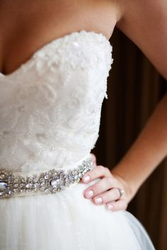 An embellished sash around the waist is a great way to add sparkle to your dream dress