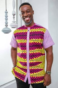 Constructive print and plain inspired menwear artshirt created by Oheneba Yaw Boamah African Shirt Dress, African Print Shirt, African Print Dress Designs, African Dresses Men, African Shirts For Men, African Attire For Men, African Wear, African Inspired Clothing, African Clothing For Men