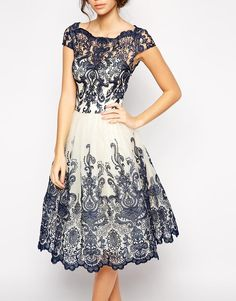 Image 3 of Chi Chi London Premium Embroidered Lace Prom Dress with Bardot Neck