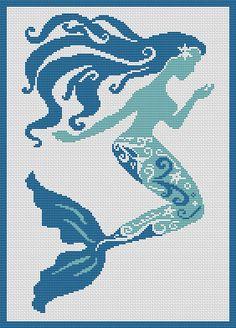 Mermaid free cross stitch pattern