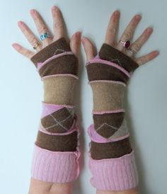 Recycled Sweater Fingerless Gloves Baby It's Cold by ThankfulRose, $21.00