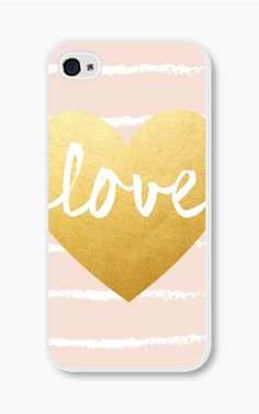* think I need this*  Gold Heart iPhone Case Geometric iPhone 4 Case
