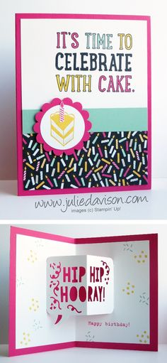 VIDEO: 7 Birthday Cards + Tips for Stampin' Up! Party Pop-Up Dies from 2016 Occasions Catalog #stampinup #birthday www.juliedavison.com