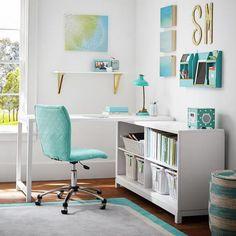 bureau d' angle ordinateur, petit office blanc et bleu