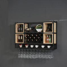 Wine Rack Cabinet, Wine Rack Wall, Liquor Cabinet, Iron Shelf, Wine Cabinets, Iron Wall, Wood Bars, Wall Shelves, Restaurant Bar