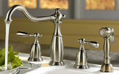 The retro styled faucets are difficult to clean and operate. Description from bestkitchenfaucetshub.com. I searched for this on bing.com/images