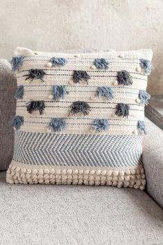 Great addition to your modern living room décor! Cotton pillow features embroidered stripes, raised knot and tassel detail and zipper closure. Removable insert ships vacuum packed for storage. (This pin includes affiliate links. Cute Pillows, Blue Throw Pillows, Diy Pillows, Boho Pillows, Cushions, Loom Weaving, Hand Weaving, Knit Pillow, Cotton Pillow