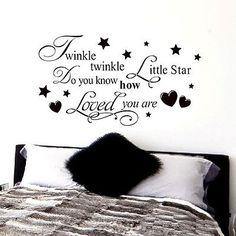 TWINKLE TWINKLE LITTLE STAR WALL QUOTE KID'S NURSERY ART DECAL VINYL STICK DIY