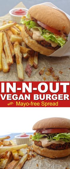 bite of this Copycat In-N-Out Vegan Burger with Spread will have anyone questioning its authenticity. The mayo-free spread paired with grilled onions even had me fooled. So beat that chemical burger craving with this healthier, cruelty-free option. Vegan Foods, Vegan Dishes, Vegan Vegetarian, Vegetarian Recipes, Healthy Recipes, Vegan Veggie Burger, Vegan Burger Recipes, Homemade Vegan Burgers, Protein Recipes