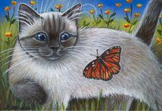 Siamese Kitten Summer Painting