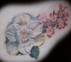 Tattoo Inspiration Worlds Best Tattoos Magnolia And Dogwood Tattoo Design Dogwood Flower Tattoos, Dogwood Flowers, Pink Flowers, Back Of Shoulder Tattoo, Flower Tattoo Shoulder, Flower Tattoo Meanings, Flower Tattoo Designs, Beautiful Tattoos, Cool Tattoos