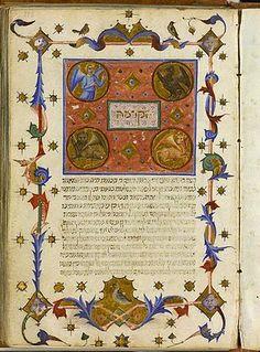 Imagen inspirada por el tetramorfos que figura en la Primera visión de Ezequiel (Ezeq. 1:1-14).1 Página de la Guía de los Perplejos de Maimónides (manuscrito sefardí, texto en hebreo, Cataluña, 1348).