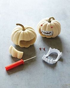 Mini pumpkins with teeth. Need to make for my father in law who makes teeth for a living. :)