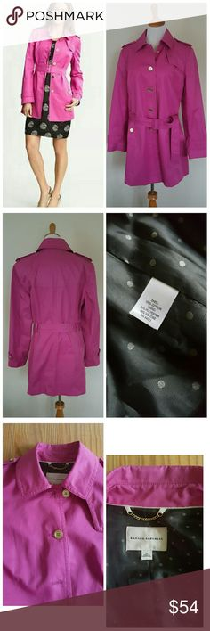 """Pink Banana Republic Trench Coat Lovely bright pink cotton trench coat from Banana Republic. Classic short trench style in a fun and flattering shade of bright pink. Is fully lined and features golden buttons.   In gently used condition. Approx measurements: Bust across measures 21"""", waist measures 20.5"""", length is 33"""". Banana Republic Jackets & Coats Trench Coats"""
