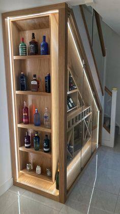 Staircase Storage, Stair Storage, Staircase Design, Wine Storage, Home Room Design, Interior Design Kitchen, House Design, Under Stairs, Open Basement Stairs