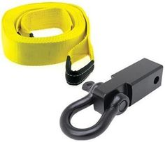 """Smittybilt Combines two fundamental vehicle recovery components in one package. A Smittybilt Receiver Mounted D-Ring Shackle and Recovery Strap. Quickly add a recovery point to any vehicle with a receiver hitch.   Black D-Ring Receiver Fits all 2"""" receivers Hitch pin and clip sold separately Features 3/4"""" pin on D-ring Rated at 10,000lbs. 2""""x30' Recovery Strap with 20,000 lb. rating  All orders ship FREE! All orders placed before 2pm CST processed same day! Full shipping details"""