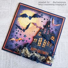 yaya scrap & more: Halloween Card using Distress Ink and Tim Holtz Dies. Photo Halloween, Halloween Tags, Holidays Halloween, Halloween Paper Crafts, Halloween Projects, Halloween Decorations, Halloween Ideas, Fall Cards, Tim Holtz