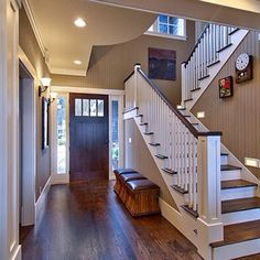 stained front door, top of stairs and interior wall color with lighter trim color and hard wood floors.......this is how interior will be done in new home